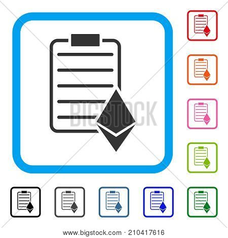 Ethereum Contract icon. Flat grey pictogram symbol in a light blue rounded squared frame. Black, gray, green, blue, red, orange color variants of Ethereum Contract vector.