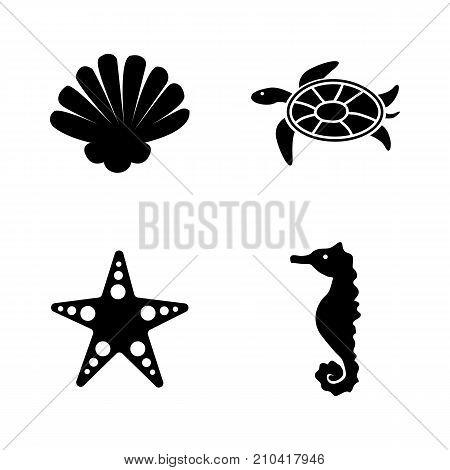 Marine Life. Simple Related Vector Icons Set. Black Flat Illustration on White Background.