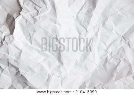 White Crumpled Paper Background
