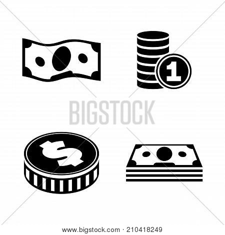 Finance. Simple Related Vector Icons Set. Black Flat Illustration on White Background.