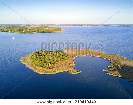 Small Peninsula With Pine Trees, Mazury District Lake, Poland