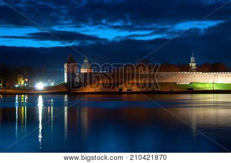 Veliky Novgorod Russia, night view. Colorful night panorama of Kremlin walls in the night time in Veliky Novgorod Russia. Night view of Veliky Novgorod Russia landmarks