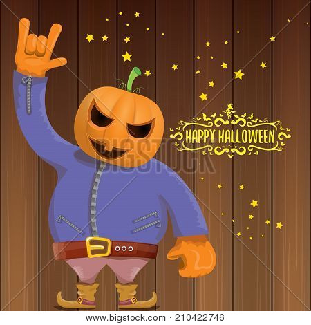 vector Happy halloween creative hipster party background. man in halloween costume with carved pumpkin head and calligraphic halloween text on wooden layout. Happy halloween rock concert poster design