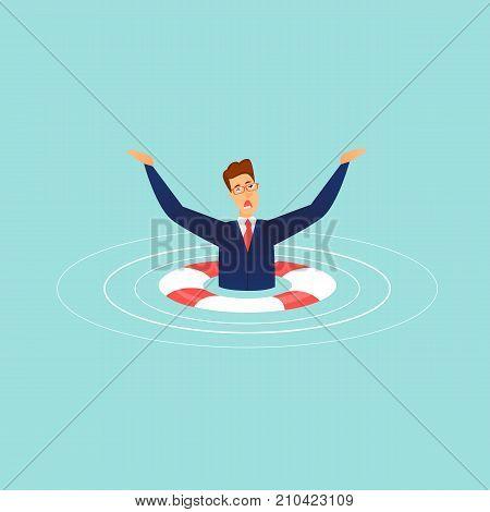 Sinking businessman. Lifebuoy. Flat design vector illustration.