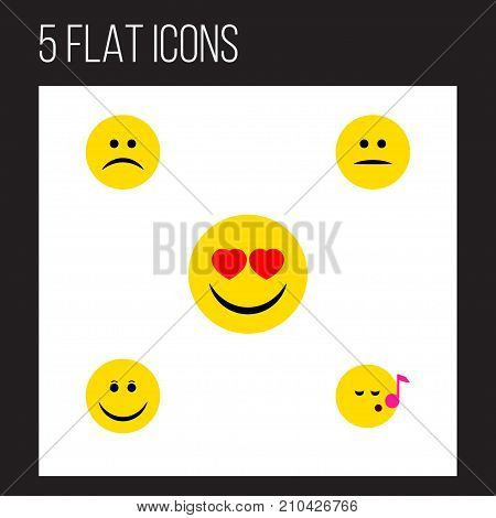 Flat Icon Gesture Set Of Displeased, Joy, Sad And Other Vector Objects