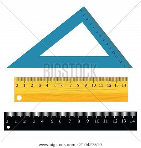 colorful illustration with set of rulers isolated on white background