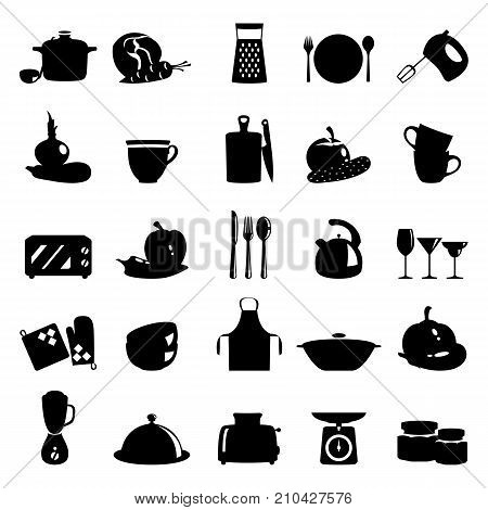 Vector black illustration of kitchen utensils, household appliances and food
