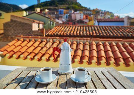 Coffee With View To Bosa Village, Sardinia, Italy