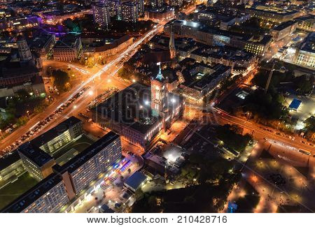 Rathaus townhall in Berlin Germany up view.