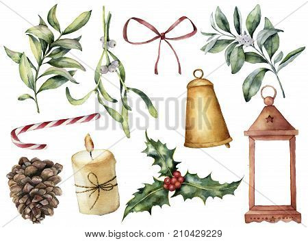 Watercolor Christmas decor with plant and berries. Hand painted eucalyptus, snowberry, bell, red bow, candle, mistletoe, lantern and holly isolated on white background. Holiday clip art for design