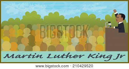 Cartoon illustration of Martin Luther King Jr speaking in front of a crowd. Eps10