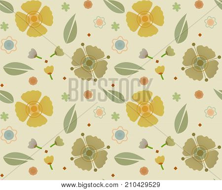 Soft colors pattern of flower and leaves. Eps10