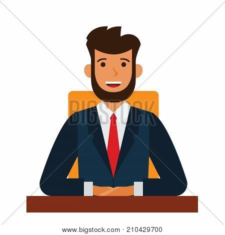 chairman of the board cartoon flat illustration concept on isolated vector white background