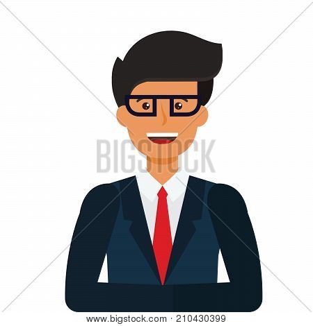 young tv newscaster cartoon flat illustration concept on isolated vector white background