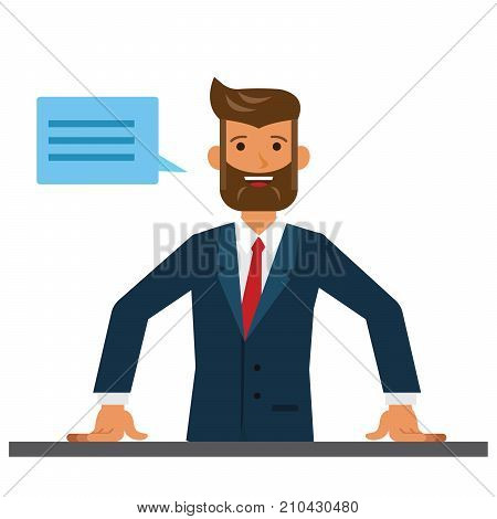 Business man entrepreneur close up cartoon flat illustration concept on isolated vector white background
