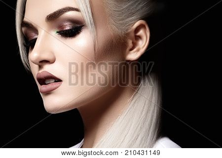 Closeup With Of Beautiful Blond Woman. Fashion Makeup, Clean Shiny Skin. Makeup And Cosmetic. Beauty