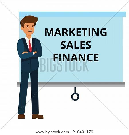 businessman with marketing, finance, sales presentation cartoon flat illustration concept on isolated vector white background