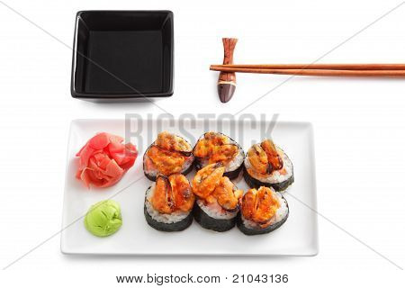 Close up of sushi on a white plate poster