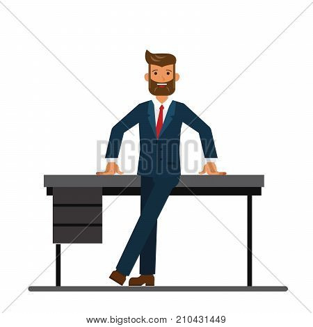 chairman of the board leaning on a table in the office cartoon flat illustration concept on isolated vector white background