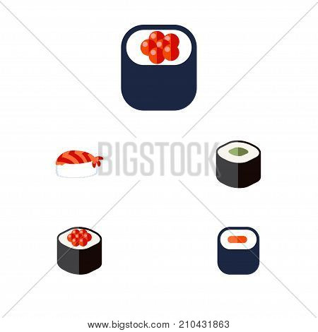 Flat Icon Maki Set Of Salmon Rolls, Maki, Eating And Other Vector Objects