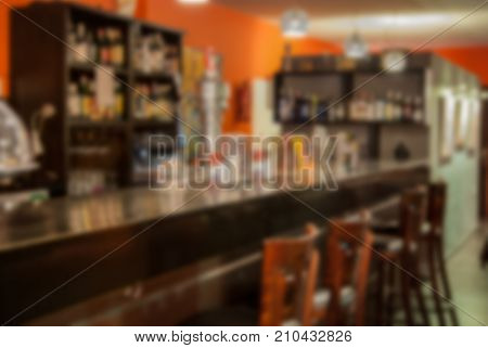 Abstract Blur Background Of Bar Counter