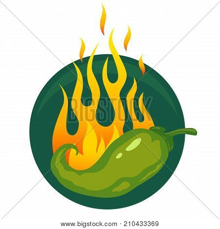 Vector illustration of a hot jalapeno or green chili peppers in fire.