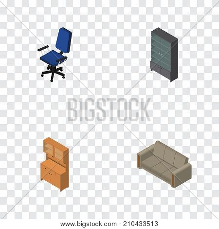 Isometric Furniture Set Of Sideboard, Cupboard, Office And Other Vector Objects poster