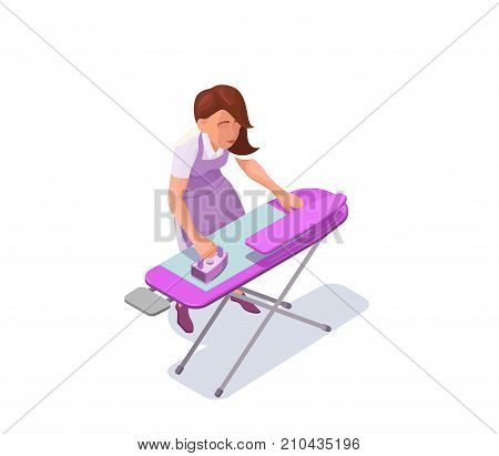 Ironing woman isometric 3d vector illustration with housewife or maid making clothes smooth with iron, washerwoman at dry cleaners