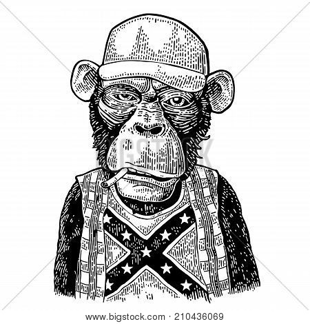 Monkey redneck smokes cigarette in trucker cap, checkered shirt, t-shirt with the flag of the Confederate. Vintage black engraving illustration for poster. Isolated on white background