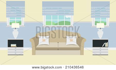 Living Room Flat With Sofa, Lamp, Window