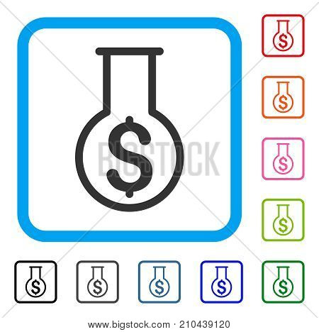 Financial Alchemy icon. Flat gray pictogram symbol in a light blue rounded rectangular frame. Black, gray, green, blue, red, orange color additional versions of Financial Alchemy vector.