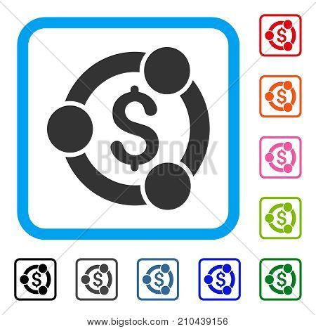 Financial Collaboration icon. Flat gray iconic symbol inside a light blue rounded rectangle. Black, gray, green, blue, red, orange color versions of Financial Collaboration vector.