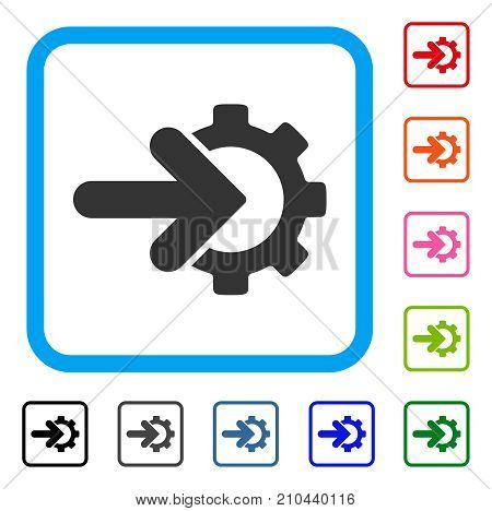 Gear Integration icon. Flat grey iconic symbol in a light blue rounded square. Black, gray, green, blue, red, orange color variants of Gear Integration vector.