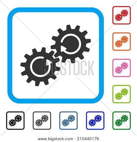 Gear Mechanism Rotation icon. Flat grey pictogram symbol in a light blue rounded frame. Black, gray, green, blue, red, orange color additional versions of Gear Mechanism Rotation vector.