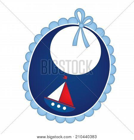 Vector baby bib in nautical style. Baby bib vector illustration