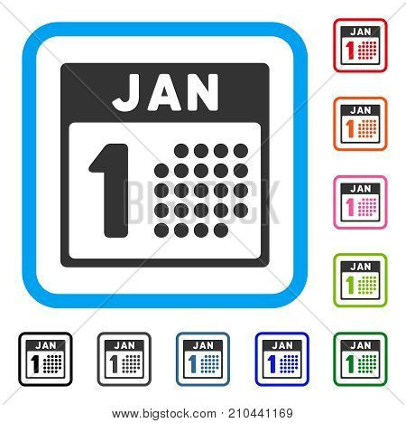 January First icon. Flat grey pictogram symbol in a light blue rounded square. Black, gray, green, blue, red, orange color additional versions of January First vector.
