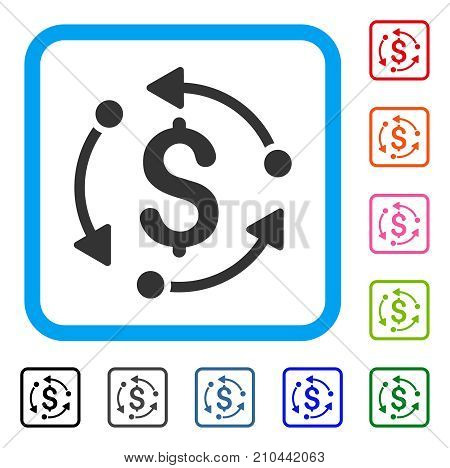 Money Rotation icon. Flat gray pictogram symbol inside a light blue rounded rectangle. Black, gray, green, blue, red, orange color additional versions of Money Rotation vector.