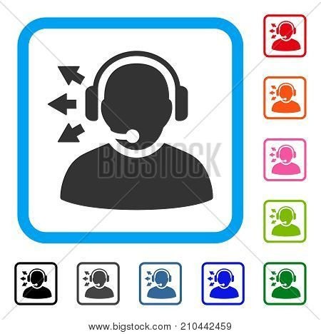 Operator Answer Speech icon. Flat gray iconic symbol inside a light blue rounded frame. Black, gray, green, blue, red, orange color versions of Operator Answer Speech vector.