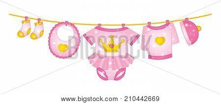Vector princess baby girl clothes. Vector baby girl clothes hanging on the line. Vector baby girl clothing. Baby girl clothes vector illustration