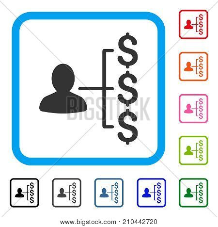 Payer Relations icon. Flat gray pictogram symbol inside a light blue rounded squared frame. Black, gray, green, blue, red, orange color variants of Payer Relations vector.