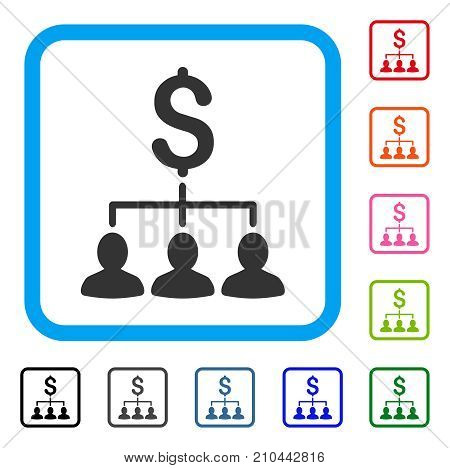 Payment Relations icon. Flat grey iconic symbol in a light blue rounded rectangular frame. Black, gray, green, blue, red, orange color variants of Payment Relations vector.