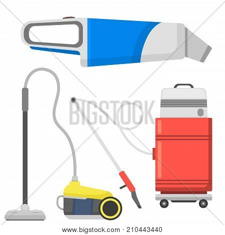 Professional cleaning equipment isolated vector home cleanup and service cleaning equipment housework tools. House product chemical washing equipment vacuum housekeeping.