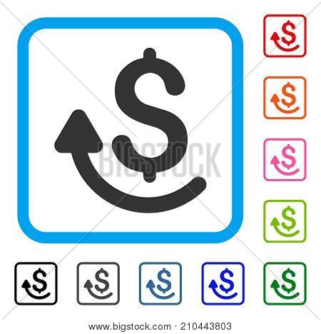 Repay icon. Flat grey pictogram symbol inside a light blue rounded rectangle. Black, gray, green, blue, red, orange color variants of Repay vector. Designed for web and application interfaces.
