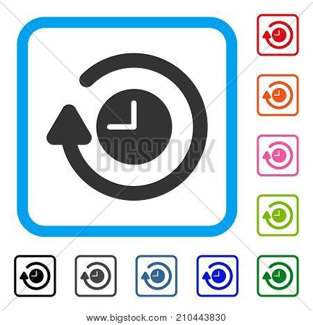 Repeat Clock icon. Flat grey pictogram symbol in a light blue rounded frame. Black, gray, green, blue, red, orange color variants of Repeat Clock vector. Designed for web and application UI.