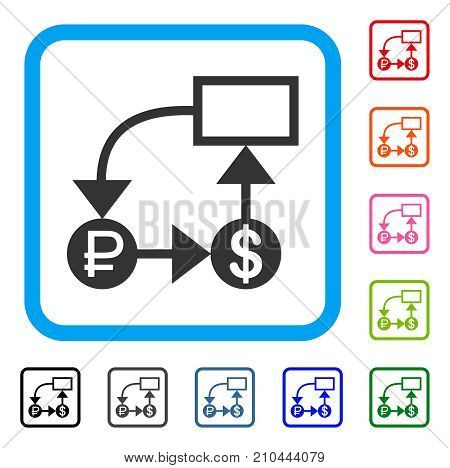 Rouble And Dollar Scheme icon. Flat grey pictogram symbol inside a light blue rounded square. Black, gray, green, blue, red, orange color versions of Rouble And Dollar Scheme vector.