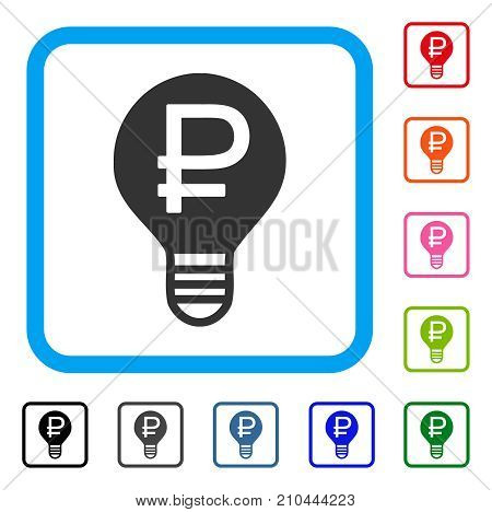 Rouble Bulb icon. Flat gray pictogram symbol inside a light blue rounded rectangle. Black, gray, green, blue, red, orange color variants of Rouble Bulb vector. Designed for web and app user interface.