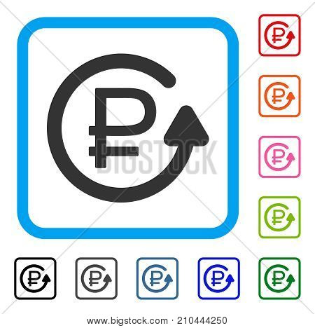 Rouble Chargeback icon. Flat grey iconic symbol in a light blue rounded square. Black, gray, green, blue, red, orange color variants of Rouble Chargeback vector.