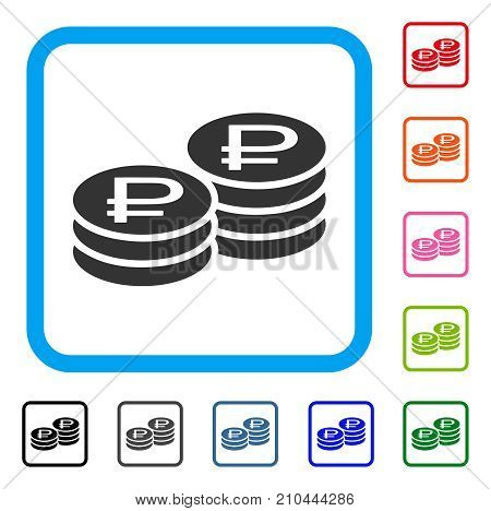 Rouble Coin Stacks icon. Flat grey iconic symbol inside a light blue rounded square. Black, gray, green, blue, red, orange color versions of Rouble Coin Stacks vector. Designed for web and app UI.