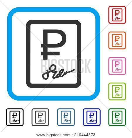 Rouble Contract icon. Flat gray pictogram symbol inside a light blue rounded squared frame. Black, gray, green, blue, red, orange color variants of Rouble Contract vector. Designed for web and app UI.