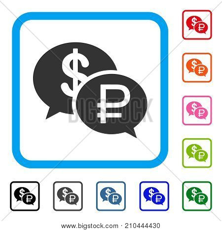 Rouble Dollar Transaction icon. Flat grey pictogram symbol inside a light blue rounded rectangle. Black, gray, green, blue, red, orange color variants of Rouble Dollar Transaction vector.